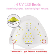 将图片加载到图库查看器,110W UV LED Nail Lamp 4 Timing Setting 36 Pcs LED Nail Dryer Polish Infrared Sensing - SUN-X5 Plus
