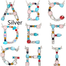 将图片加载到图库查看器,2 clours for chose Multicolor 26 Alphabet Letter Pendant Necklace Letter Name Necklaces  Include Jewelry bag