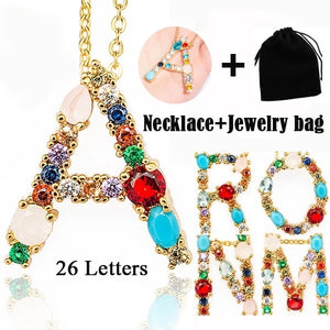 2 clours for chose Multicolor 26 Alphabet Letter Pendant Necklace Letter Name Necklaces  Include Jewelry bag