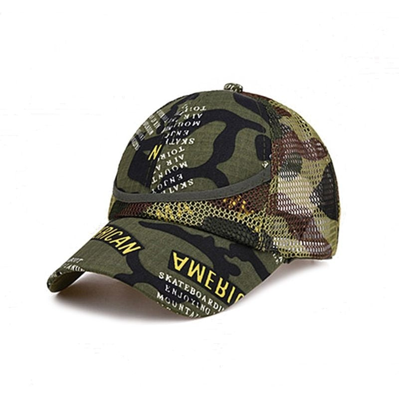 Summer Kids Mesh Hat Boys Girls Camouflage Baseball Hats Casual Hip Hop Hat Children Fashion Cotton Flat Hats for 3-12 Y   DGL