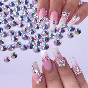 1 Box Nail Rhinestones Mixed Colors Glass Flat-back AB Crystal Strass 3D Charm Gems DIY Manicure Nail Art