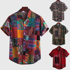 Men's Ethnic Style Patchwork Printed Button Down Summer Short Sleeve Cotton Loose Casual Shirt Beach Holiday