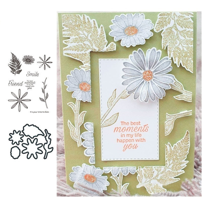 The Sunflower Clear Stamp and Dies for Scrapbooking Card Album Making Metal Cutting Dies and Stamps Sets