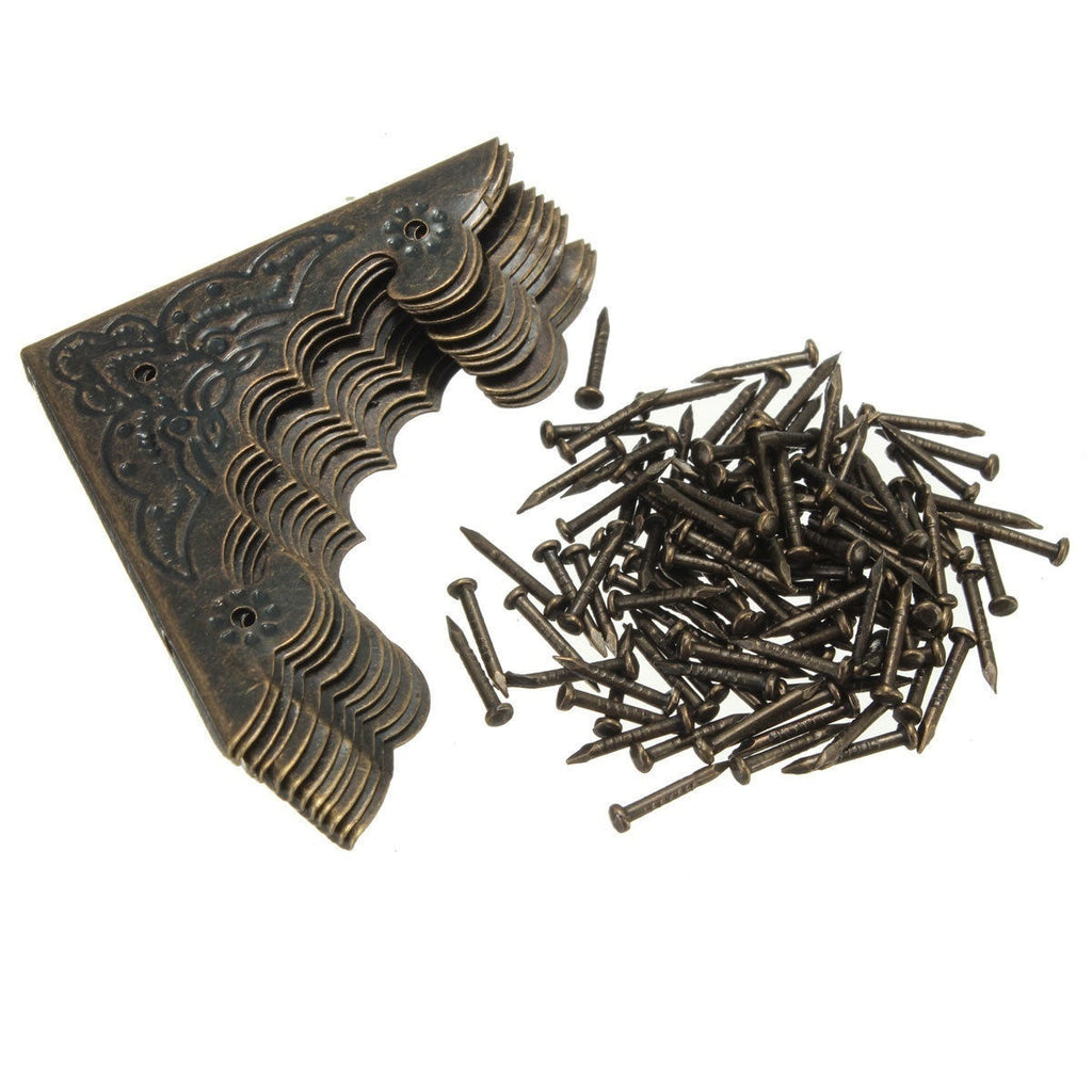 12 Pcs Good Quality Chinses Antique Brass Iron Wooden Box The Edge of The Classic Copper Hardware Accessories Corner Angle Protector Cover