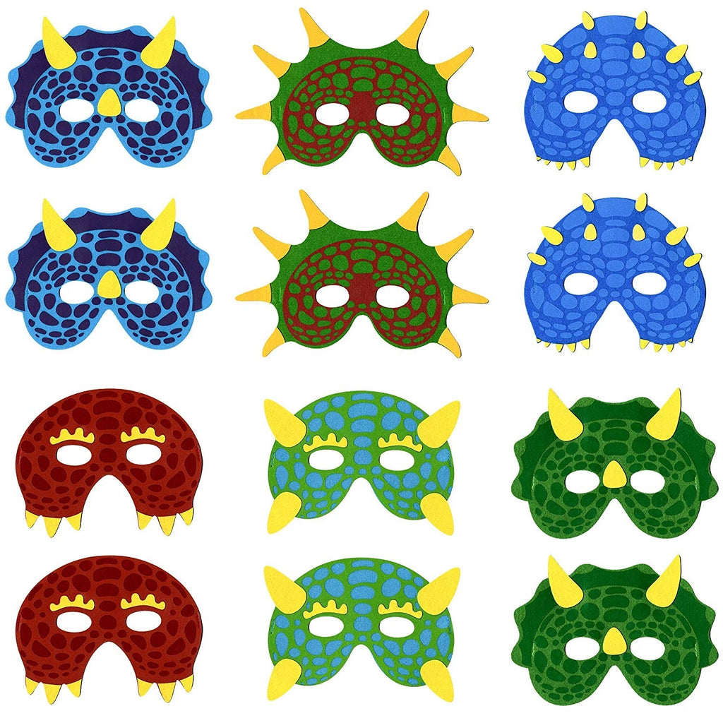 12 Pack Dinosaur Masks for Kids Party Dino Birthday Parties for Kids Goodie Bags