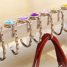 将图片加载到图库查看器,Portable Metal Foldable Table Handbag Hooks Stainless Steel Hanger Holder for Coat Purse Hanger Round Rhinestone Holder