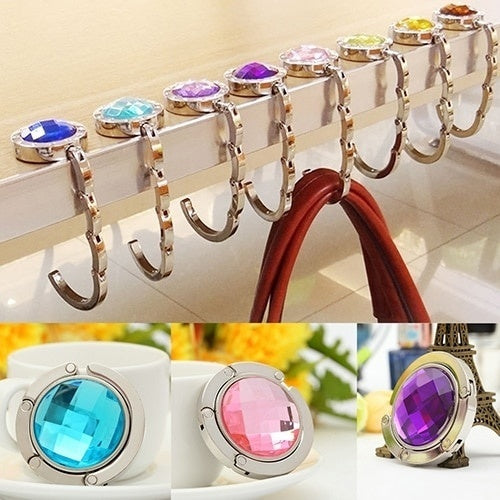 Portable Metal Foldable Table Handbag Hooks Stainless Steel Hanger Holder for Coat Purse Hanger Round Rhinestone Holder