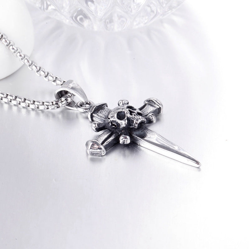 Men's Stainless Steel Skull Cross Biker Pendant Necklace