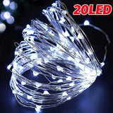 6.6ft Copper Wire LED String Lights Holiday Lighting Fairy Lights Christmas Garland for New Year Wedding Party Decoration