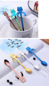 1pcs Creative stainless steel spoon cute cartoon spoon cat spoon handle hanging cat excrement coffee spoon