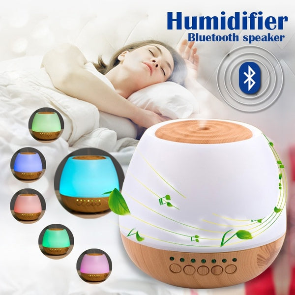 400 ML Large Capacity Essential Oil Aroma Diffuser LED Ultrasonic Wood Humidifier With Bluetooth Speaker Aromatherapy Diffuseur Huiles Essentielles