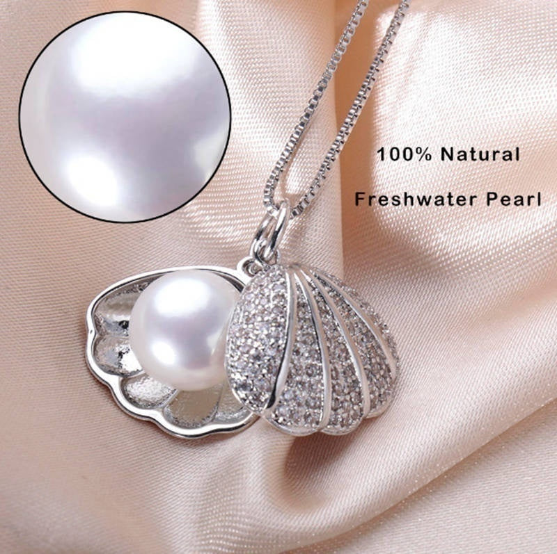 925 Sterling Silver Freshwater Pearl Shell Pendant Choker Necklace Women Statement Pendant