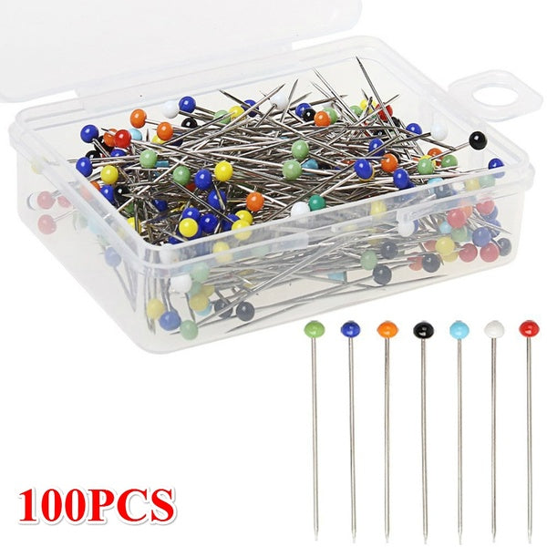 100PCS 32mm DIY Knitting Garment Accessory Apparel Glass Head Pins Glass Head Bead Sewing Needles Locating Pin