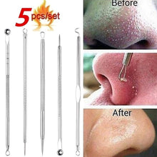 将图片加载到图库查看器,5/7pcs Blackhead Whitehead Pimple Spot Comedone Acne Extractor Remover Popper Tool Kit