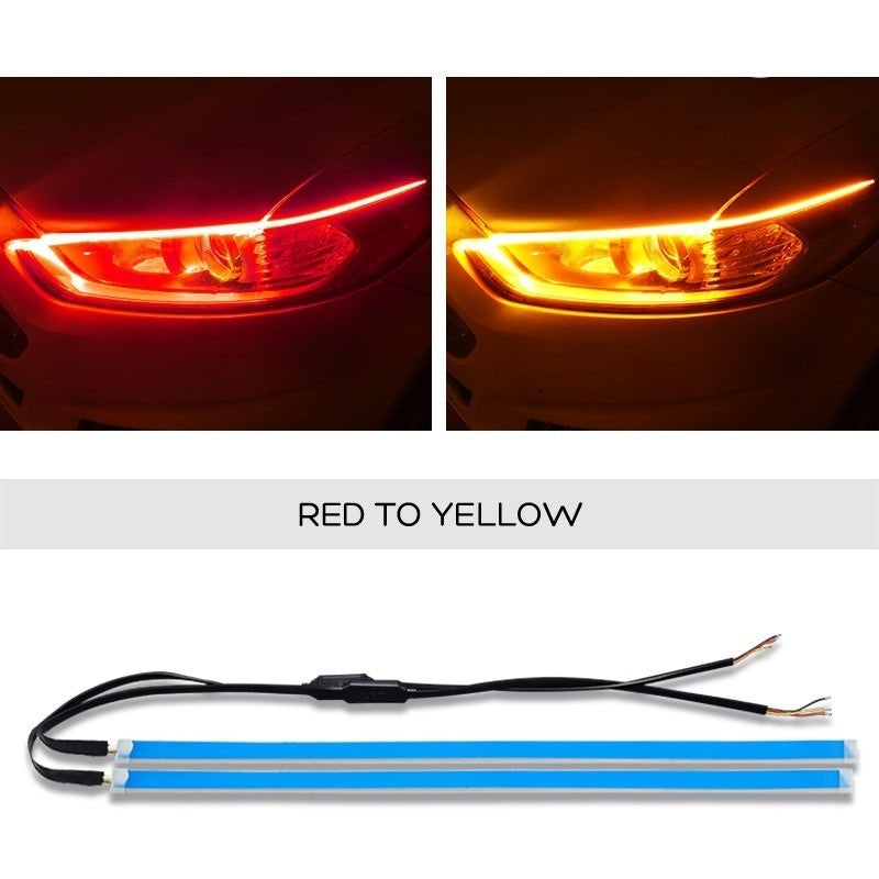 2pcs Ultra Thin Double Color Car Soft Tube LED Strip DRL Flowing Turn Signal 30/45/60mm