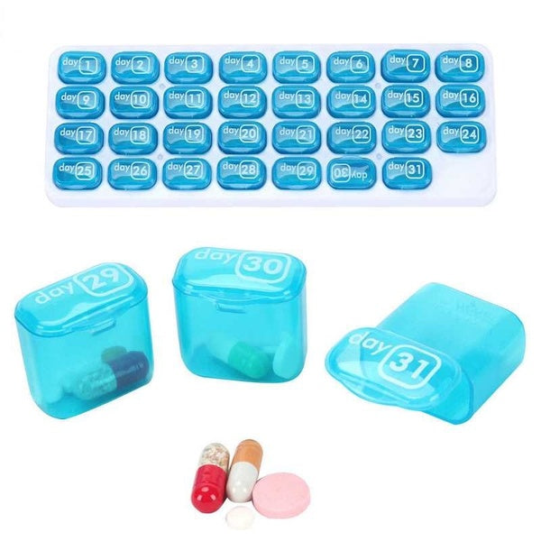 1*2019 NEW Blue 31 Day Monthly Medicine Tablet Pill Sorter Month Pill Case Organizer Box Home