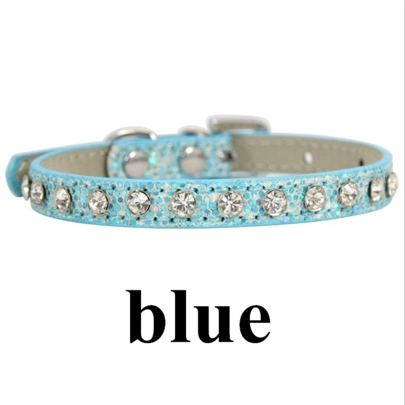 Bling Rhinestone PU Leather Collar for Dog Pet Accessories Crystal Diamond Dog Collar and Leash for Small Large Dogs