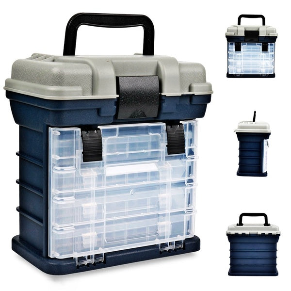 Big Fishing Tackle Box Portable 4 Layers Fishing Box Sea Boat Fishing Accessory Box Case With Handle Utility Box