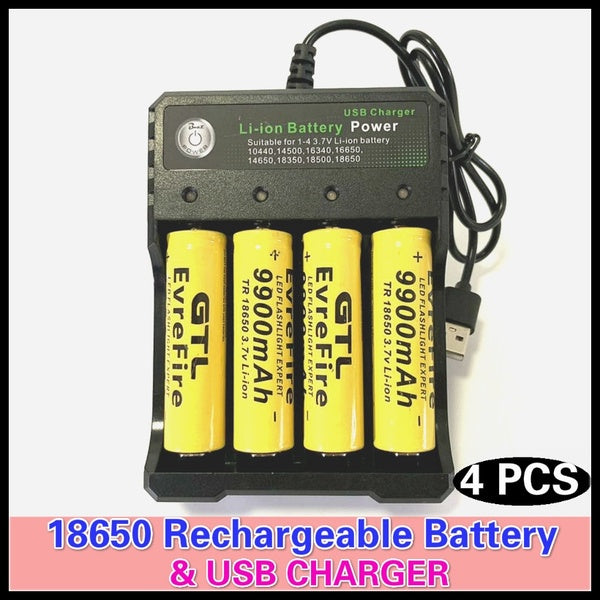 2019 Fashion 18650 Lithium Battery High-capacity Rechargeable Battery 18650 Batteries & 18650 Charger For Flashlight Batteries