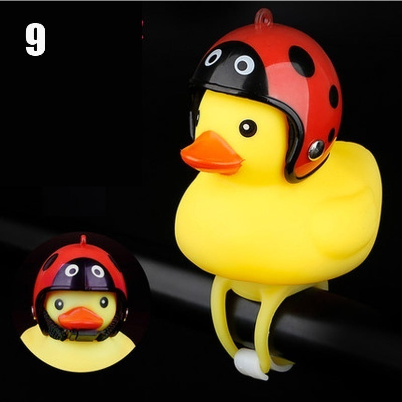 Cute Yellow Duck Helmet Bike Horn Squeeze Bell Creative Bike Bell LED Lights Handlebar Bell