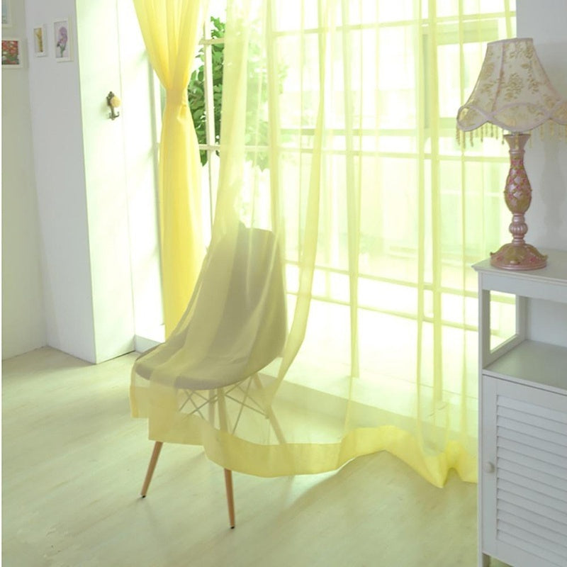 12 Colors Tulle Window Curtains Living Room Door Sheer Panel Valance Curtains Home Decor