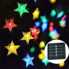 将图片加载到图库查看器,20ft 30 LED Solar String Lights Solar Powered Star Fairy Lights Outdoor Waterproof Lights String Landscape for Garden Patio Yard Home Party Decoration