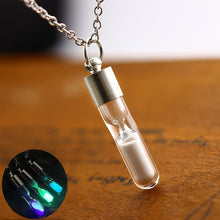 将图片加载到图库查看器,Fluorescent Hourglass Crystal Drift Bottle Pendant Self-illuminating Luminous Necklace Sanding Wishing Bottle Ladies Luminous Jewelry