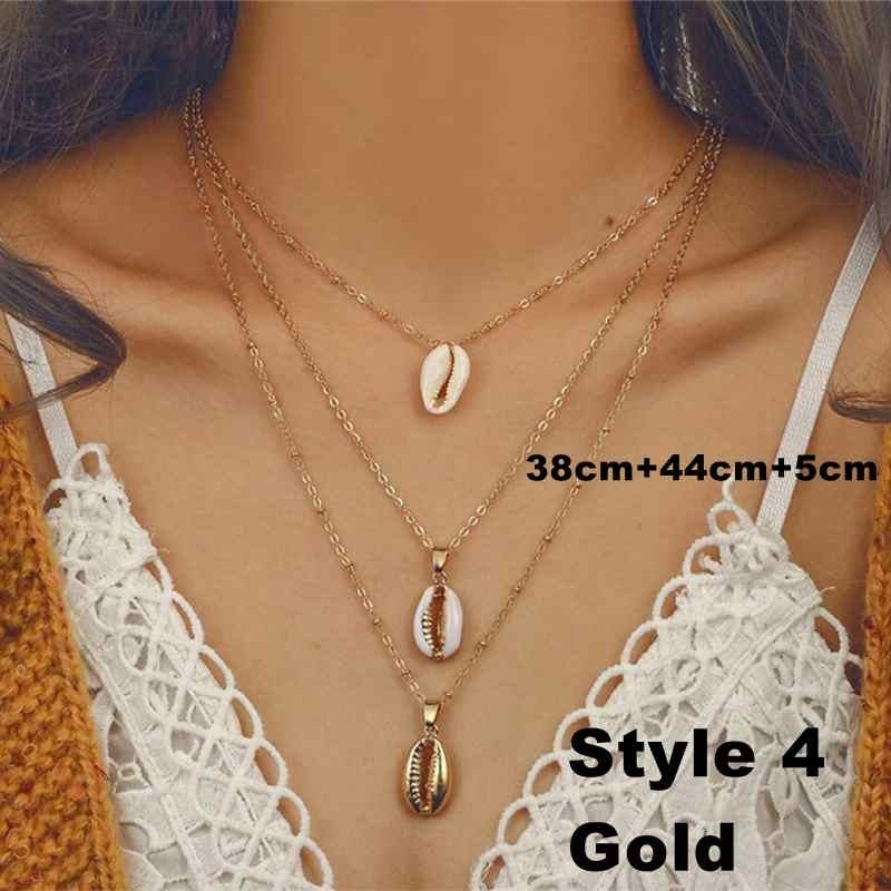 New Seashell Beach Tassel Shell Necklace for Women Bohemian Gold Necklaces Jewelry