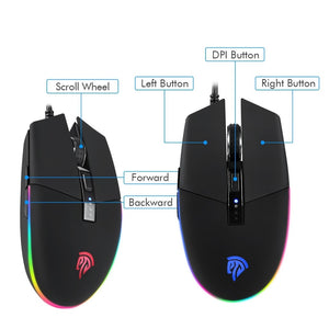 EasySMX PC Gaming Mouse 22 Preset Macros for PUBG RGB LED 5 DPI Settings