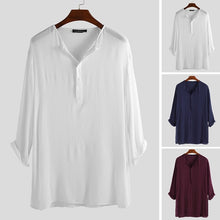 将图片加载到图库查看器,Men T Shirt Cotton Long Sleeve Tee Tops Retro Islamic Kaftan Loose Casual Longshirt Men Indian Kurta Suit