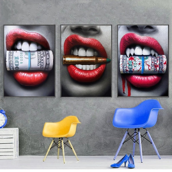 50X70cm Sexy Bloody Red Lips Bite Bullet Money Modern Wall Art Prints Posters Canvas Painting