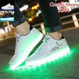 High Quality USB Charging Women Men Led Sneakers Leather Casual Shoes