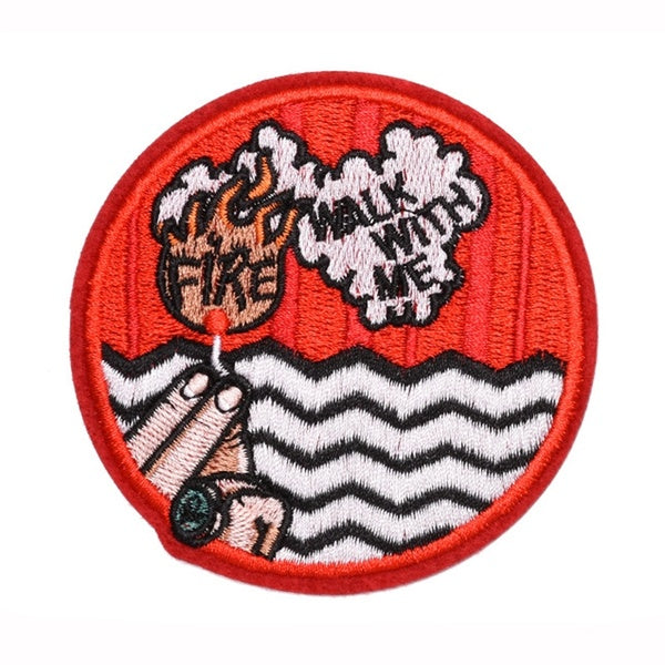 P3776 Twin Peaks Patch for Clothing Iron on Embroidered Sewing Applique Cute Sew On Fabric Badge DIY Apparel Accessories