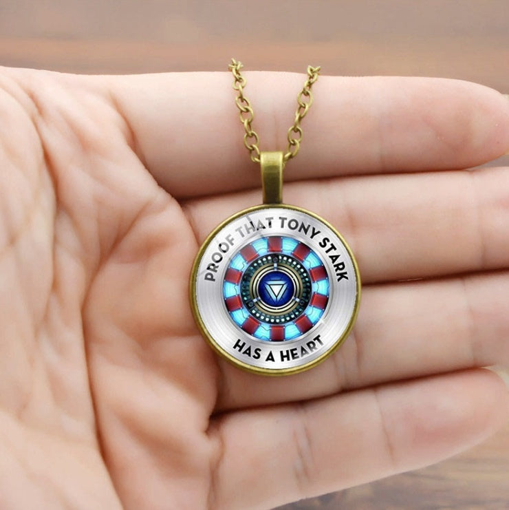 Arc Reactor Glass Cabochon Pendant Necklace Fashion Jewelry Silver Chain Necklace Men Women