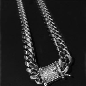 Lovemeto 925 Silver Stainless Steel Chain Iced Out Diamond Thick Miami Cuban Link Chain Necklace or Bracelet Hip Hop Jewelry