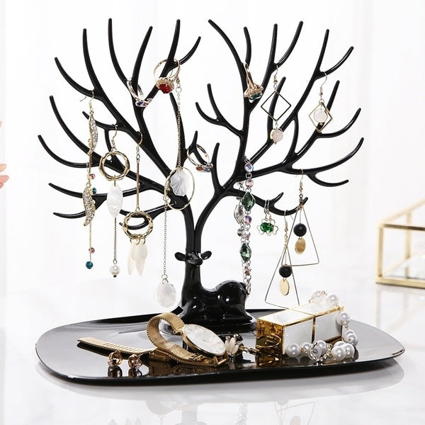 Little Deer Earrings Necklace Ring Pendant Bracelet Jewelry Display Stand Tray Storage Racks Organizer Holder