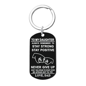 Hot Tomy Boy /Girl Always Remember To... Start Over Be Afraid Not To Try Love Mom Stainless Steel Dog Tag Necklace / Keychain - Birthday and Graduation Gift