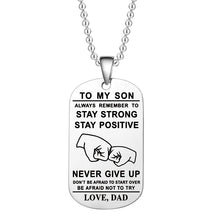 将图片加载到图库查看器,Hot Tomy Boy /Girl Always Remember To... Start Over Be Afraid Not To Try Love Mom Stainless Steel Dog Tag Necklace / Keychain - Birthday and Graduation Gift