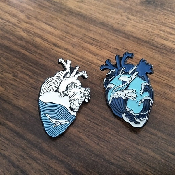 Wave Heart Badges Heart Whale Enamel Brooch Bag Clothes Lapel Pin Badge Blue Sea Beach Freedom Jewelry Gift