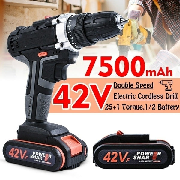 42V Professional Electric Cordless Drill 25 + 1 Torque 0.8-10mm Keyless Chuck 2 Speed Electric Screwdriver Hammer Hand Drill 1/2pcs 7500mAh Li-Ion Battery With LED Light Rechargeable Household Power Tool