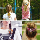 New 8 PACK Women's Floral Print Hair Scrunchies Elastic Hair Bands for Girls Bohemian Style Ponytail Holders