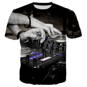 Unisex Night Club LED Keyboard T Shirts Music Instrument 3d Print Hip Hop Party DJ Tee Tops