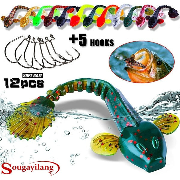 12Pcs Soft Worm Lure Lure with 5pcs Crank Hooks Fishing Baits Set Tackle Outdoor Accessories Fishing Wobblers