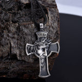 Jesus Cross Necklace, Men's Jewelry, Religious Savior Pendant, Silver Christian Accessories, Oxidized Christ Medal, Jesus Gift