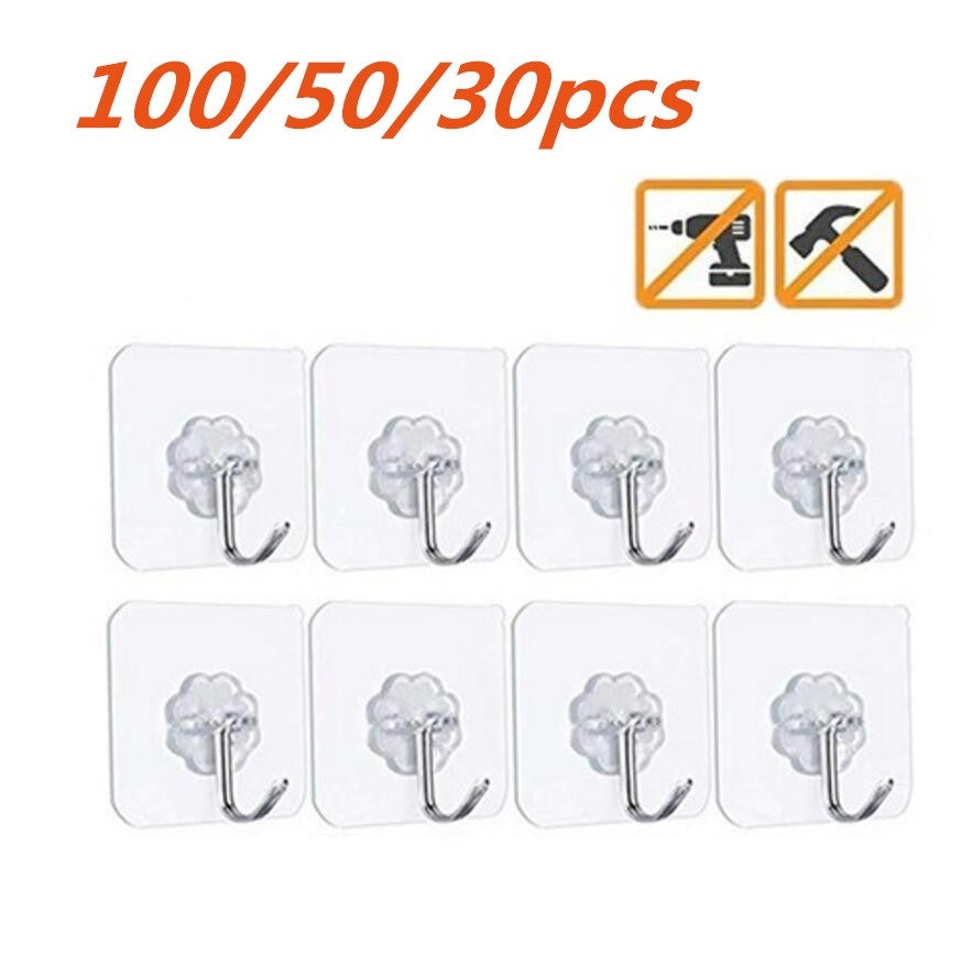 100/50/30 pcs Magic Hook No Trace Without Nails Transparent Strong Sticky Heavy Magic Wall Hook Home Decor Holders & Racks