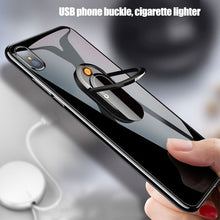 将图片加载到图库查看器,Creative USB Cigarette Lighter Portable Ring Mobile Phone Bracket Rechargeable Lighter Cigarette Accessories Phone Holder