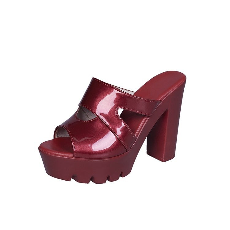 Summer Women High Heels Platform Mule Shoes Fashion Patent Leather Fish Mouth Hollow Chunky Heels Slipper