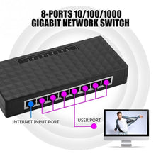 将图片加载到图库查看器,8 Ports 1000Mbps RJ45 Smart Gigabit Ethernet Network Switches Black New