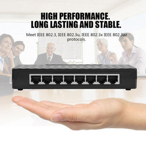8 Ports 1000Mbps RJ45 Smart Gigabit Ethernet Network Switches Black New