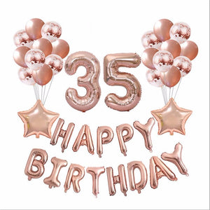 1set 16 21 30 40 50 60th Happy Birthday Rose Gold Star Confetti 32inch Number Foil Balloon Birthday Party Decor Supplies
